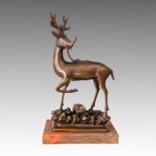 Tier Statue Sika Hirsch Bronze Skulptur Tpal-472