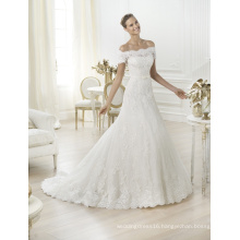 Open Shoulder Short Sleeves Lace Wedding Dresses