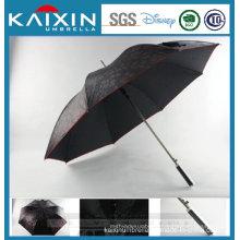 Auto Open Golf Straight Umbrella with Flower Embossment