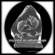 K9 Handmade Crystal Intaglio com peixe