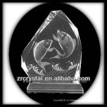 Ручной работы Кристалл K9 Инталия с рыбой