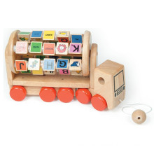 educational toy wooden alphabet truck for kids