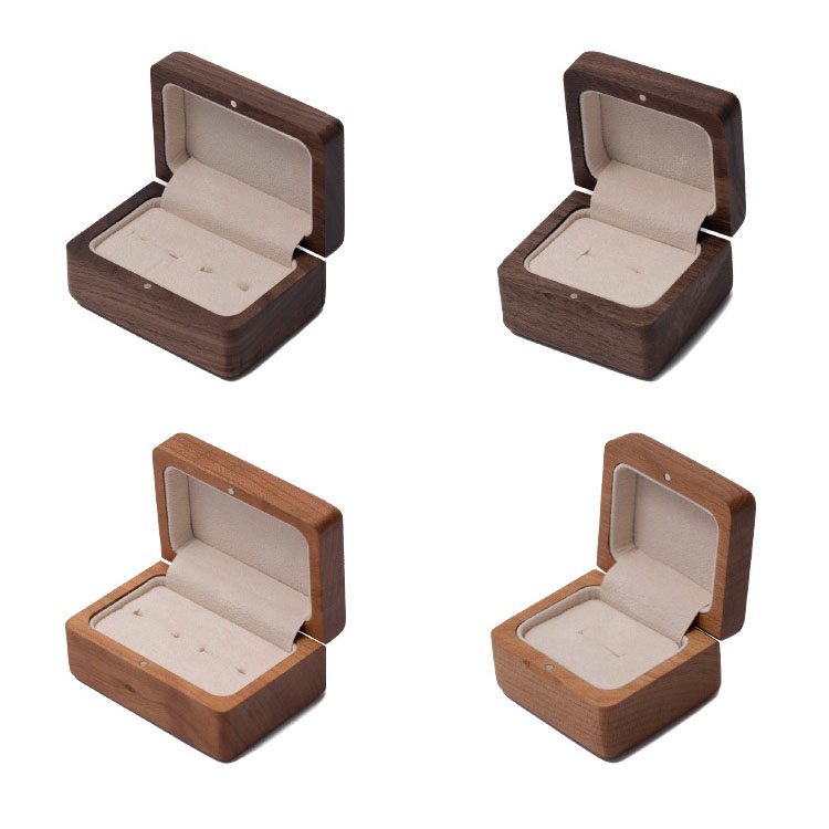 Small Delicate Wood Cardboard Ring Packaging Box Jewelry Box