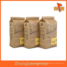 Stand up tin tie Kraft paper coffee bag with valve