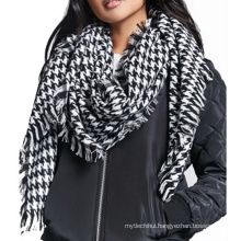 Thick winter long soft knitted tassels Houndstooth scarf for women