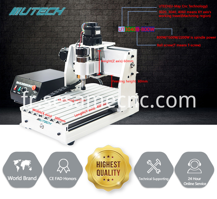 Desktop Mini CNC Rounter 3040 4 axis