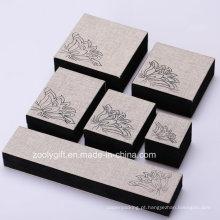 Linen tecido jóias caixa anel / colar / caixa de embalagem pulseira com impressão