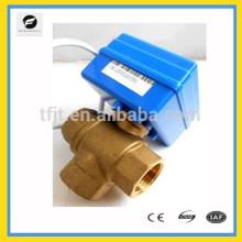 DC5V eléctrico, válvula de motor de actuador de 3 vías con válvulas de latón DN15 y DN20, flujo T