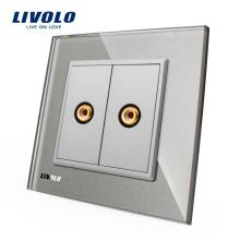 Livolo Серое Кристаллическое Стекло VL-C792VD-15 Стены 2 Gang Видео Розетка Электрическая Вилка