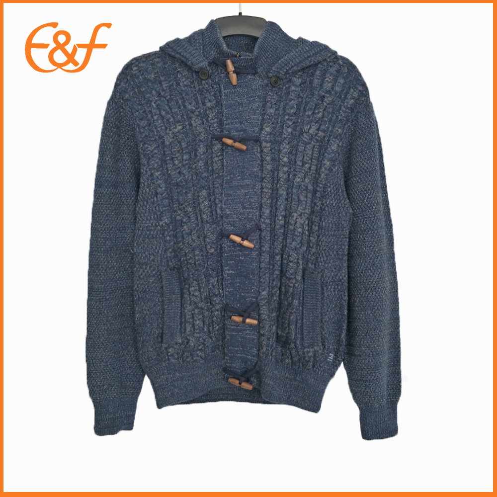 Western Style Mens Big Button Heavy Cardigan Sweater Coat