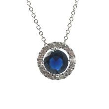 Blue Stone Round Circle Silver Pendant