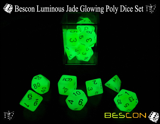 Bescon Luminous Jade Glowing Poly Dice Set-5