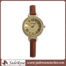 Moda feminina relógio liga relógio com pulseira de couro