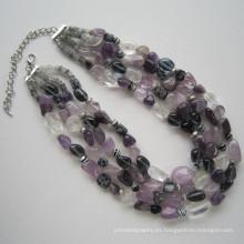 Collar de piedras preciosas naturales coloridos Daking 4 filas
