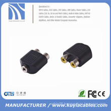 2 RCA Female to 3.5mm Stereo Female Splitter Audio Adapter
