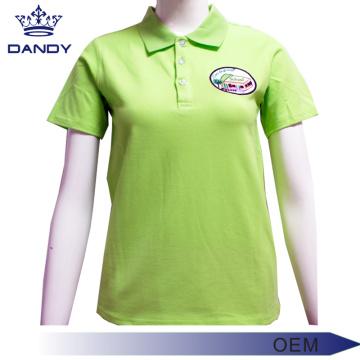 Зеленые рубашки-поло из пике для женщин