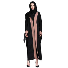 Mulher elegante moderna mangas compridas preto frontal aberto Abaya muçulmano vestuário