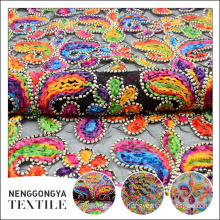 Custom logo professional beautiful colorful tape embroidery polyester fabric mesh
