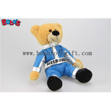 """10"""" Customized Brown Teddy Bear with Blue Joined Bodies Vehicle Race Clothing"""