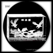 K9 3D Laser subsuperfície pássaro dentro de cristal retângulo