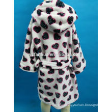 Heart Printed Hooded Flannel fleece bathrobe for Young Girls