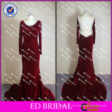 ED Bridal Elegant and Sexy Crystal Beaded Velvet Long Sleeve Open Back Evening Dress 2017