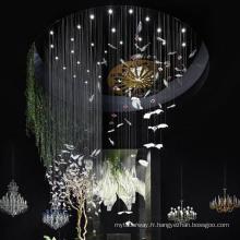 Grand hall de projet central d'hôtel personnalisable en verre forme d'oiseau lustre vif lumière