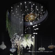 Customizable large hotel central project lobby Glass bird shape vivid chandelier light