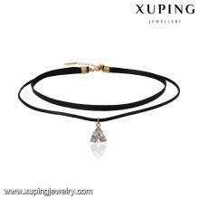 43691 xuping collar de triángulo de cuero de oro 18k de moda joyería de 2 capas con cierre magnético