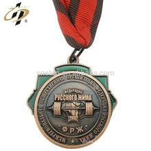 Antique bronze 3D africa souvenir personnalisé powerlifting médaille avec lanière