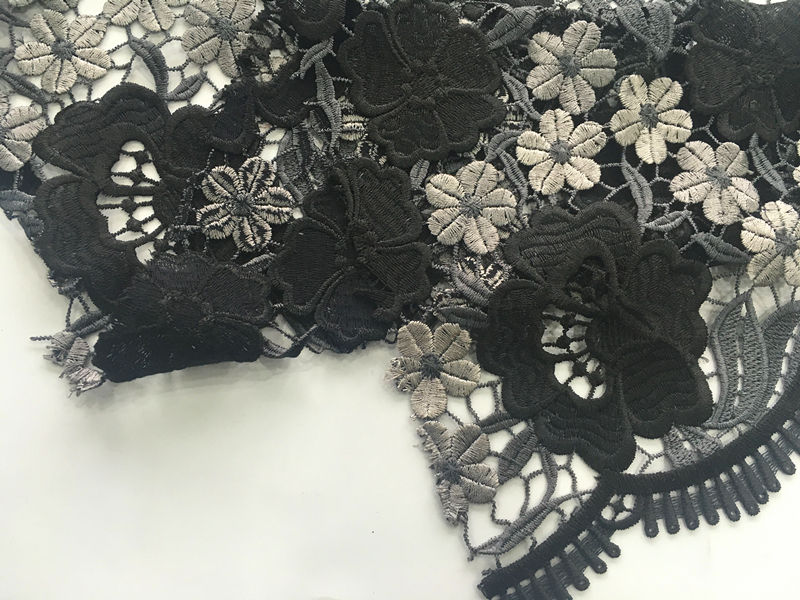 Multicolor Chemical Lace Embroidery Fabric