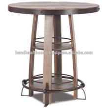 Mesa redonda industrial del metal de la vendimia y de madera alta