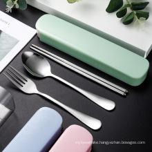 3pcs/set Cutlery Set Travel Portable Box Flatware Stainless Steel Spoons Forks Chopsticks Dinnerware Sets Kitchen Tableware