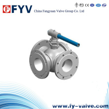 Manual Stainless Steel Three-Way Flanged Ball Valve