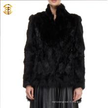 2017 Vente en gros manteau en fourrure de lapin en coton noir
