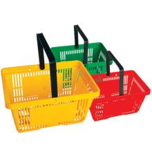 Best selling High quality Hypermarket Plastic Basket Wheeled Shop Basket 30L Rolling Basket