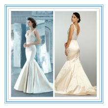 Sexy V Neckline Satin Mermaid Sweep Train Alibaba Wedding Dresses(WDJL-1030)