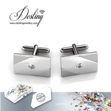Destino joias cristal de Swarovski simples botões de punho