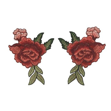 2 Pieces Peony Flower Sew On Embroidery Badges