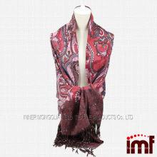 Пейсли узорный шарф кашемира с кисточками