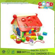 2015 Mais recente brinquedo de madeira de madeira de madeira, jogar casa de bloco de madeira, peça de estilo de brinquedo de casa