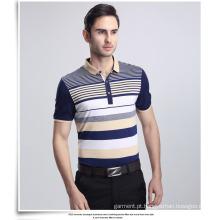 T-shirt personalizado polo do bordado dos homens da forma
