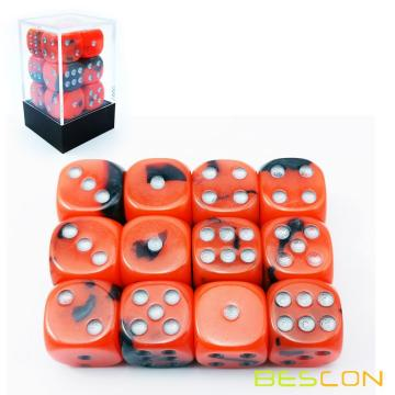 Bescon Two Tone Glowing Dice D6 16mm 12pcs Set HOT ROCKS, 16mm Six Sided Die (12) Block of Glowing Dice