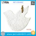 Ornement de Noël de décoration de sapin de Noël blanc en céramique de pigeon