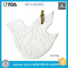 Ornamento blanco de la Navidad de la decoración del árbol de Navidad de la paloma de cerámica