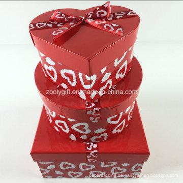 Custom Printing Ribbon Runde Herz-geformt Platz Gemischte Papier Geschenk-Boxen Set