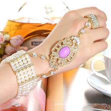 Mode CZ Strass Vergoldet Zink Legierung Armreif und Ring Set Armband