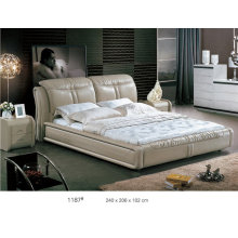 Modern Bed, Leather Bed, Bedroom Furniture, King Size Bed (L1187)