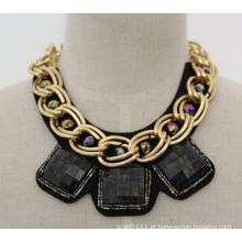 Moda acrílico colar de zircão traje chunky colar colar (je0019-2)