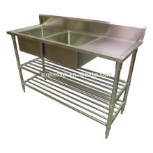 Австралийский коммерческий Кухонная раковина с рабочим столом из нержавеющей стали Кухонная раковина с крылом два 2 отсека